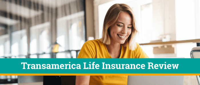 Lady with a smile on her face while looking at her lap top computer.  The banner on the picture says Transamerica Life Insurance Review