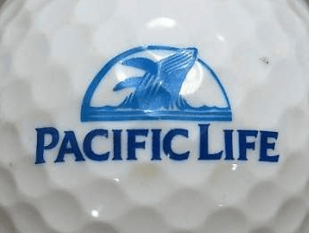 Golf ball with Pacific Life Logo on it.