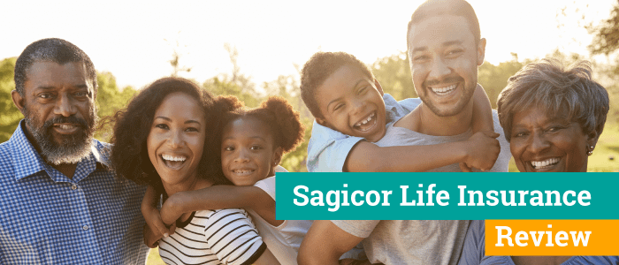 Two young families outside having a good time with their kids piggy backing on them.  Banner across picture say Sagicor Life Insurance Review