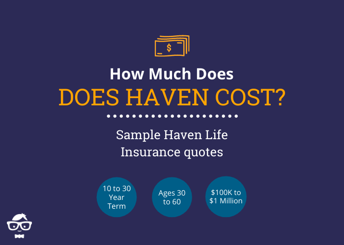 Haven Life Insurance Sample Quotes - 10, 15, 20 and 30 Year Term - Ages 30, 40, 50 and 60 - $100,000 to $1 Million Coverage