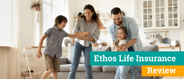 After a review of Ethos life insurance, Mom, dad, and children are laughing and spending time in their living room.
